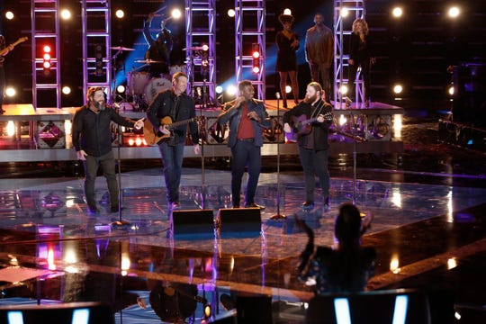 "From left, Dave Fenley, Blake Shelton, Kirk Jay and Chris Kroeze sing ""Dixieland Delight"" Tuesday on ""The Voice."""