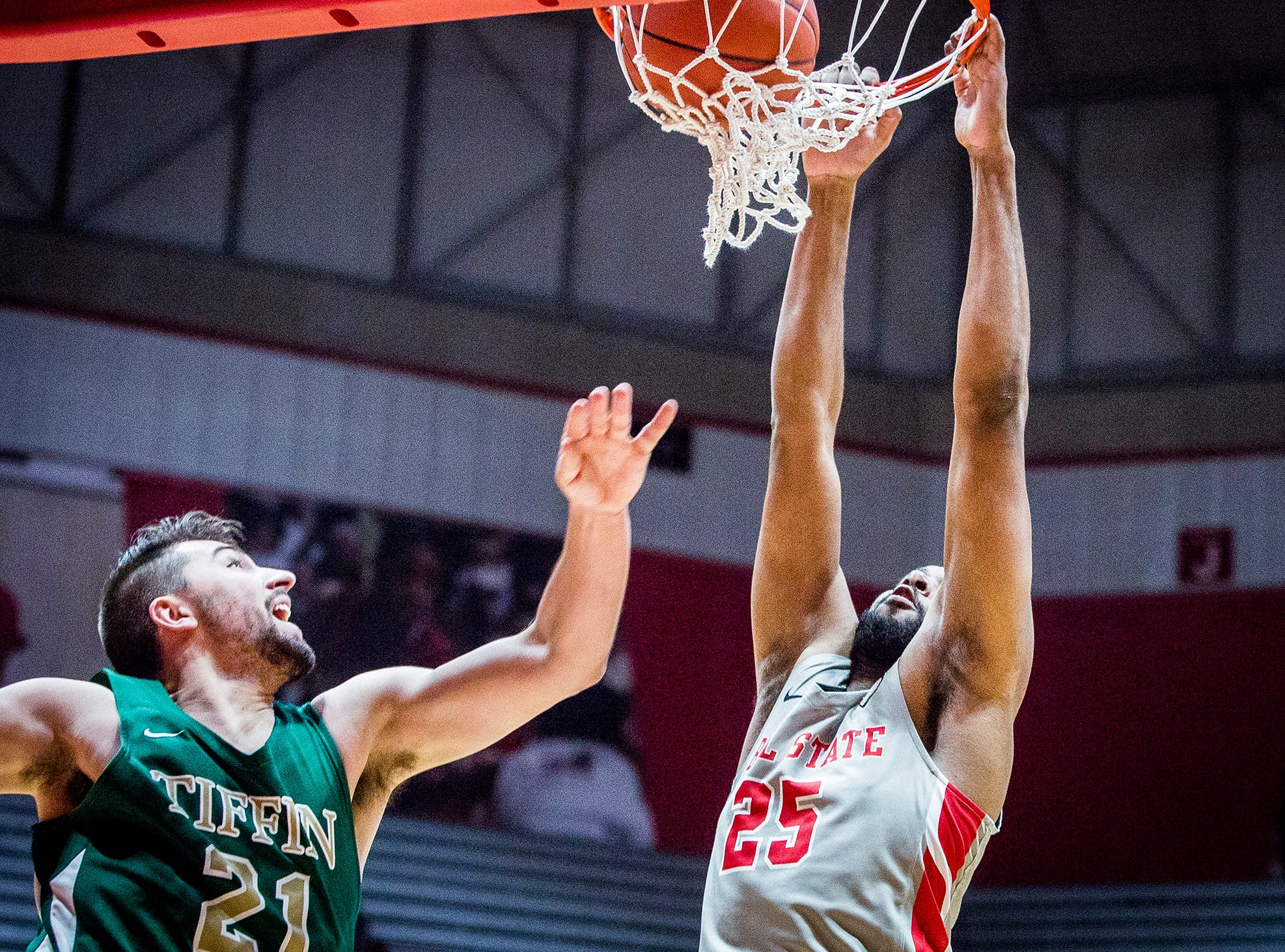 Ball State's Tahjai Teague dunks against Tiffin's defense during their game at Worthen Arena Tuesday, Nov. 27, 2018.