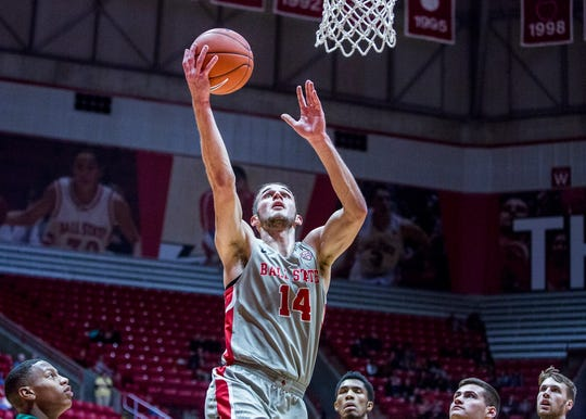 Ball State's Kyle Mallers, shown here in a game earlier this season against Tiffin, scored 10 points Saturday at Ohio.
