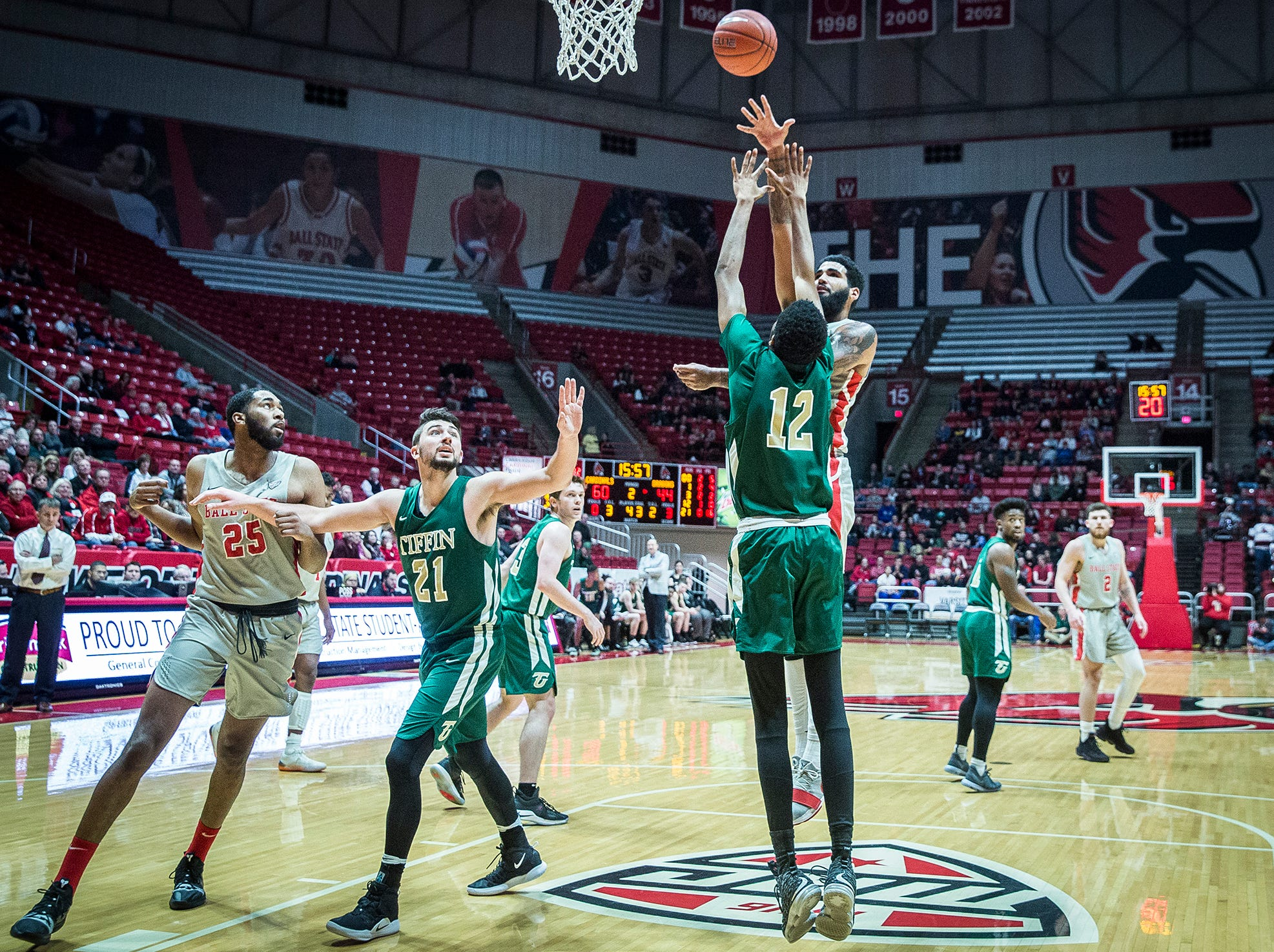 Ball State defeated Tiffin during their game at Worthen Arena Tuesday, Nov. 27, 2018.