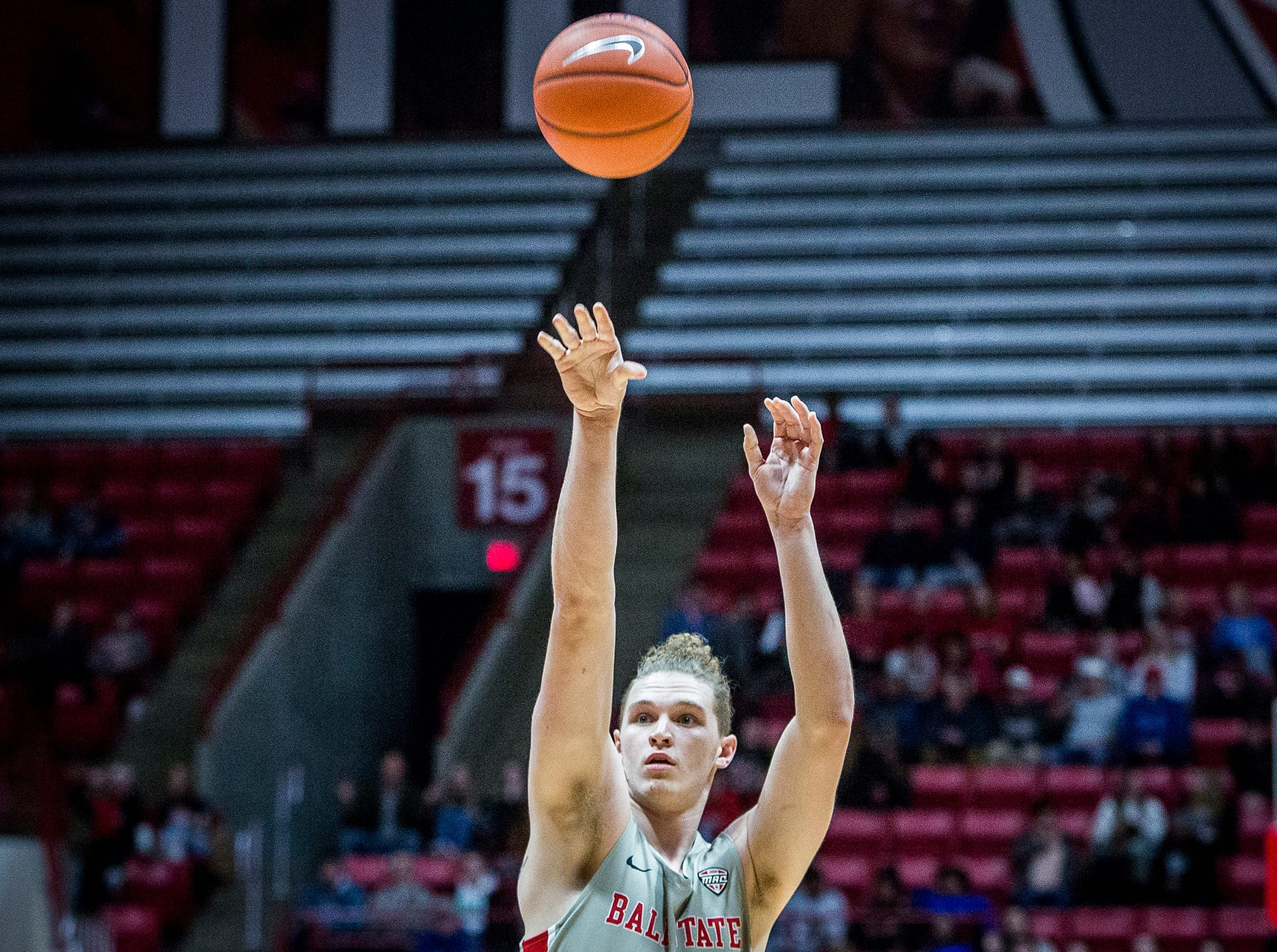 Ball State's Blake Huggins shoots a free throw against Tiffin during their game at Worthen Arena Tuesday, Nov. 27, 2018.