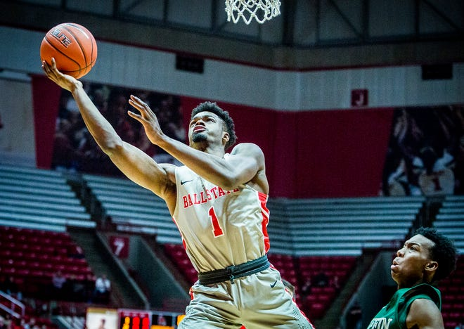 Ball State's K.J. Walton, shown here earlier this season against Tiffin, scored a career-high 24 points Saturday at Central Michigan.