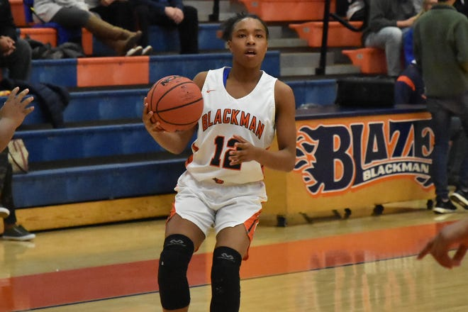 Blackman's Nia Vanzant pulls up during Tuesday's win over Whites Creek.
