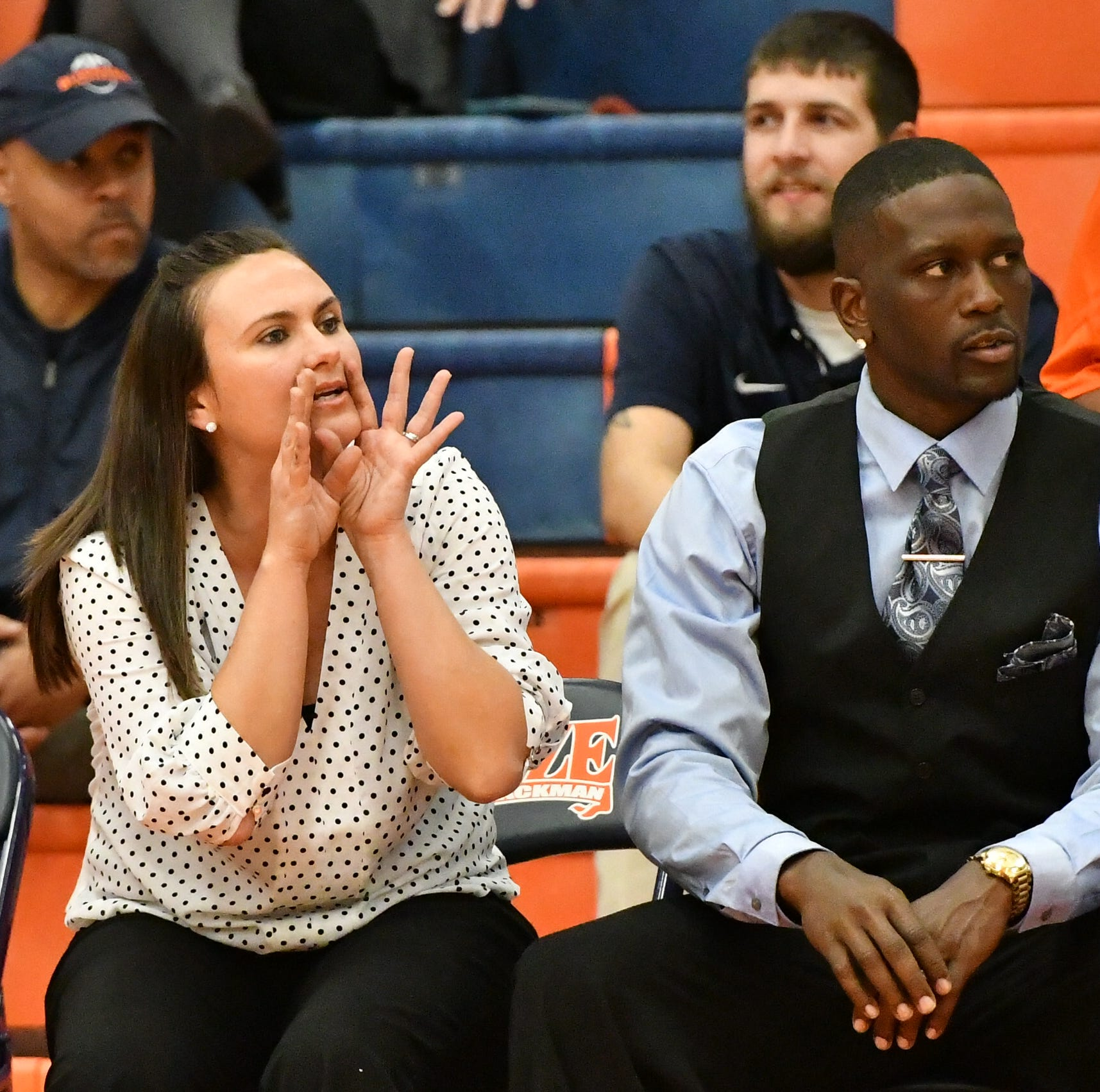 Blackman coach Wendi Scott shouts instruction to her squad during Tuesday's win over Whites Creek.