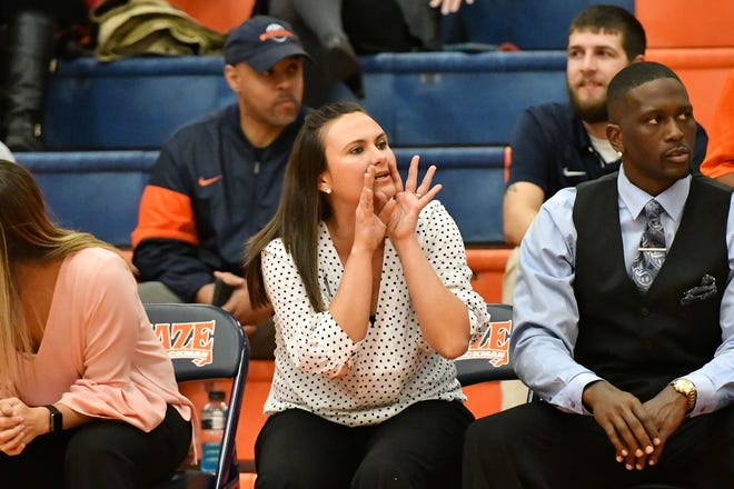 Blackman girls coach Wendi Scott shouts instruction to her team during a recent game. The Blackman teams will be hosting the Outback Classic on Thursday and Friday.