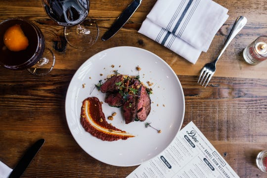 Skirt Steak with Romesco Sauce from the winter menu at City Winery.
