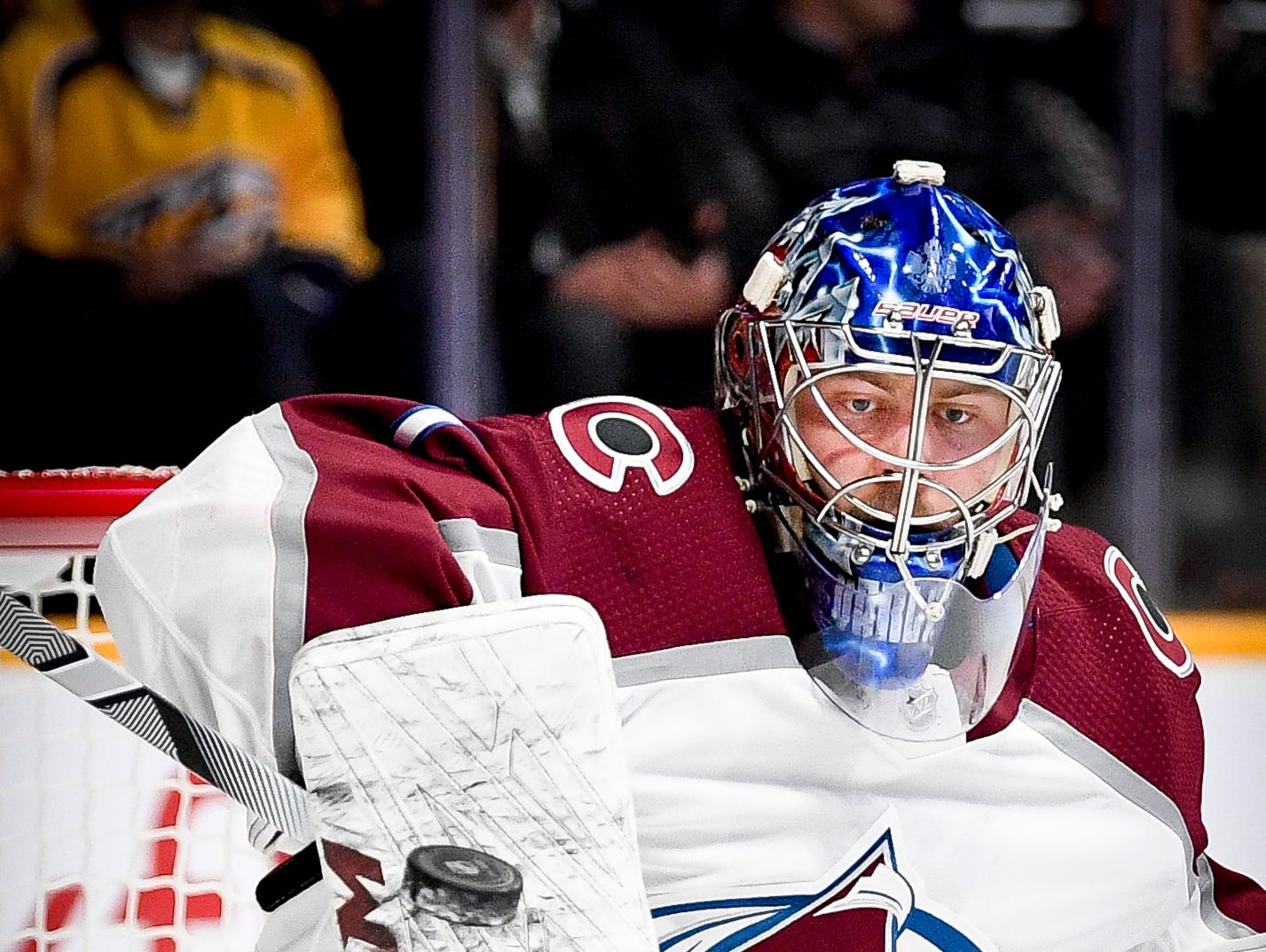 Colorado Avalanche goaltender Semyon Varlamov (1) blocks a Nashville Predators shot during the first period at Bridgestone Arena in Nashville, Tenn., Tuesday, Nov. 27, 2018.