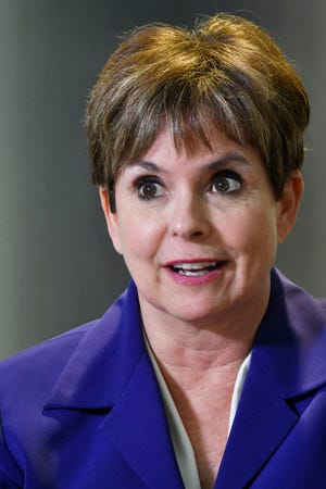 Longtime former Channel 4 anchor Demetria Kalodimos accused her old TV station of age and gender discrimination in a federal lawsuit filed Tuesday against the TV station's parent company, Meredith Local Media Group Wednesday Nov. 28, 2018, in Nashville, Tenn.
