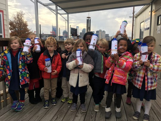 Episcopal School of Nashville students decorated Ms. Cheap Penny Drive cans as snowmen as part of an art and public outreach lesson.