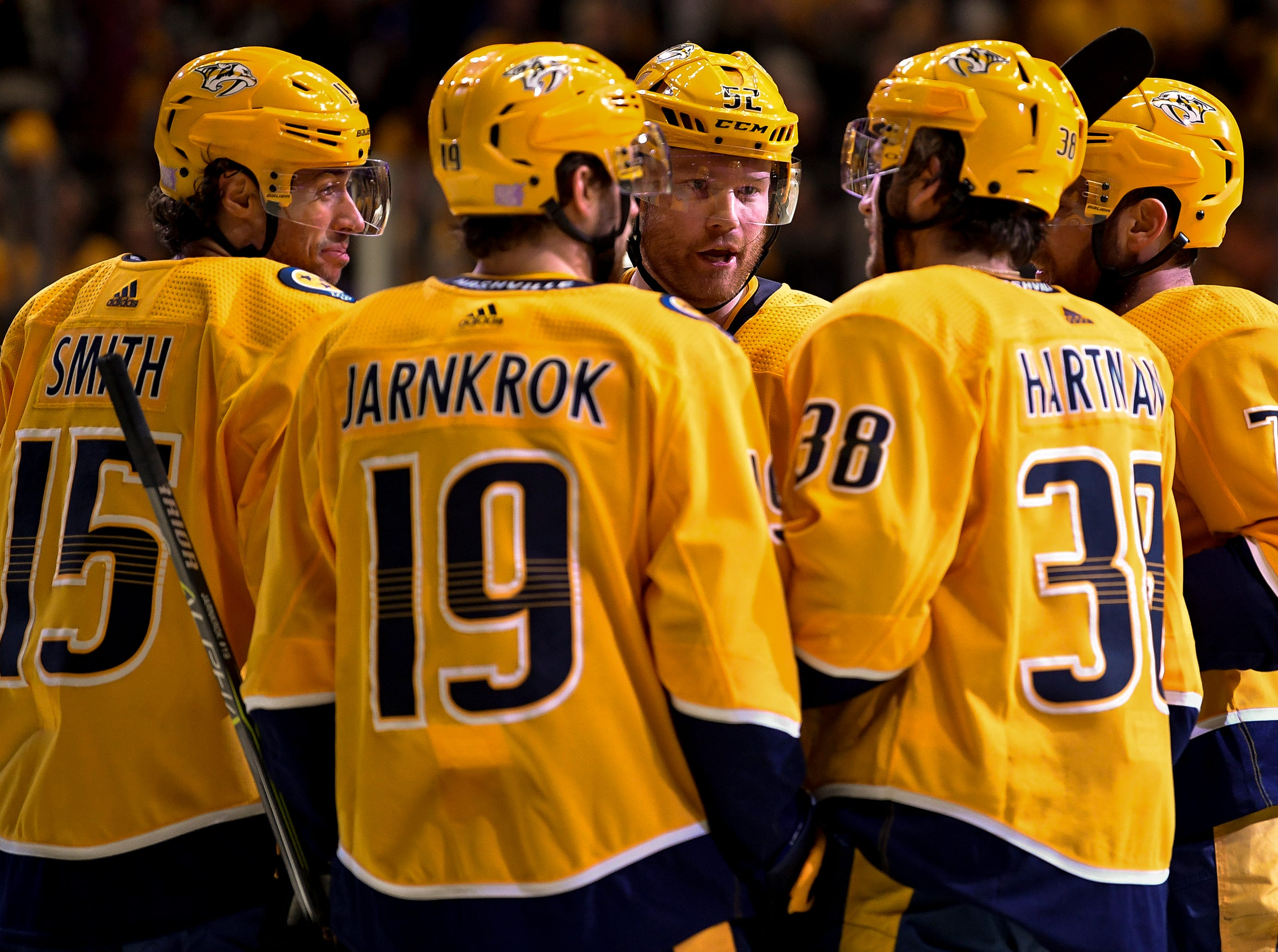 Nashville Predators right wing Ryan Hartman (38) celebrates his goal against the Colorado Avalanche with teammates during the first period at Bridgestone Arena in Nashville, Tenn., Tuesday, Nov. 27, 2018.