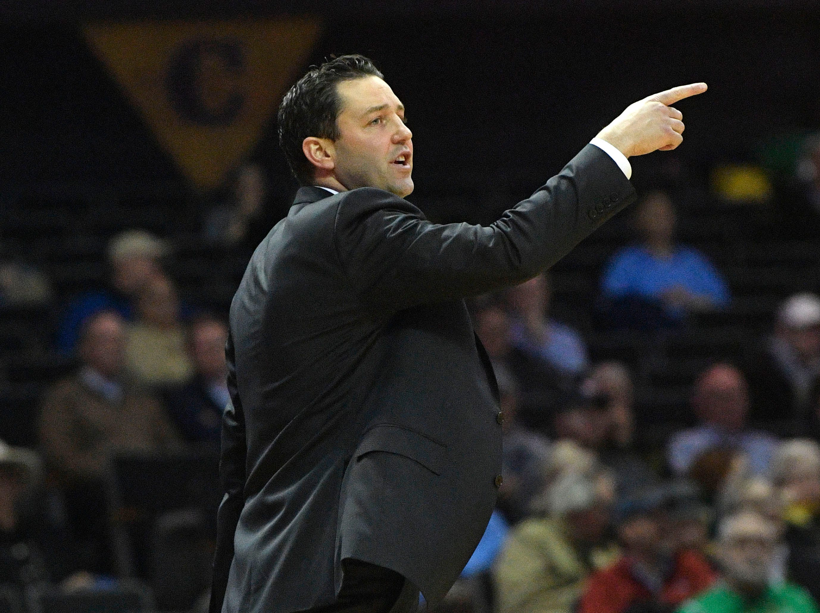 Coach Bryce Drew gives instructions to his players as Vanderbilt plays Savannah State at Memorial Gym