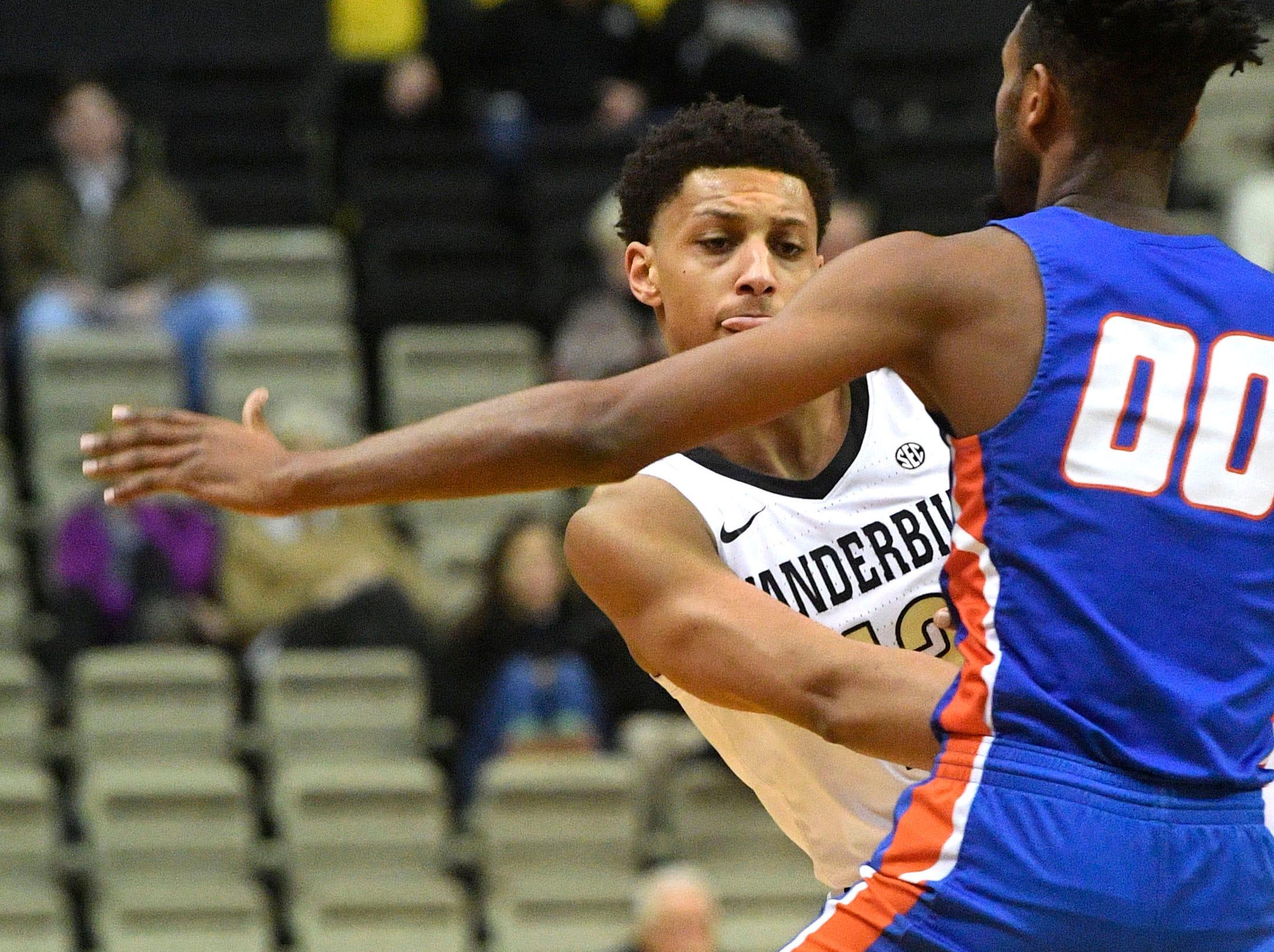 Vanderbilt Commodores forward Matthew Moyer (13) weaves a pass to teammate as Vanderbilt plays Savannah State at Memorial Gym Tuesday Nov. 27, 2018, in Nashville, Tenn.