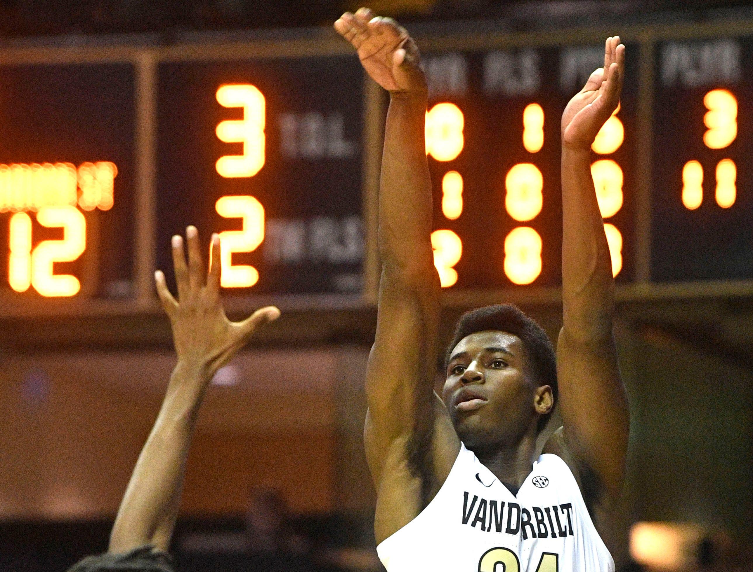 Vanderbilt Commodores forward Aaron Nesmith (24) shoots as Vanderbilt plays Savannah State at Memorial Gym Tuesday Nov. 27, 2018, in Nashville, Tenn.