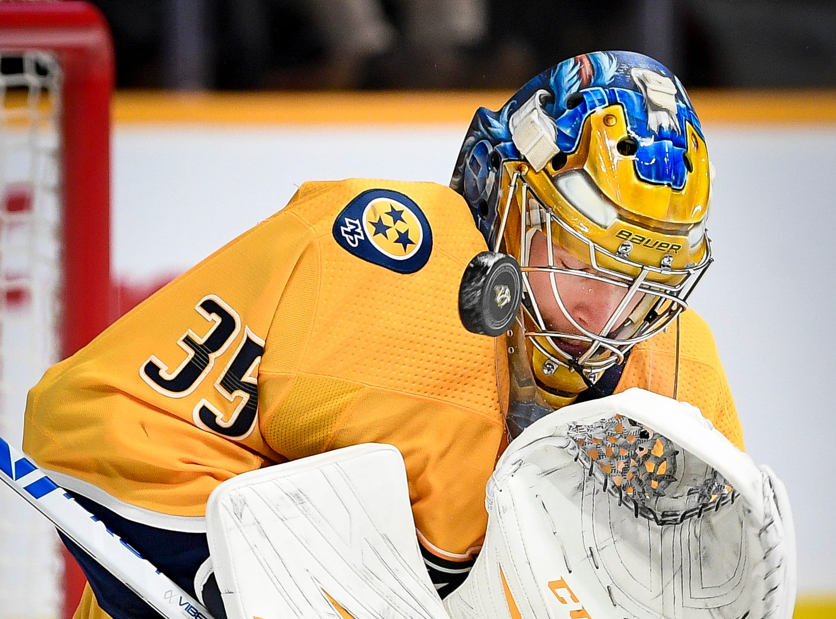Nashville Predators goaltender Pekka Rinne (35) blocks a Colorado Avalanche shot during the second period at Bridgestone Arena in Nashville, Tenn., Tuesday, Nov. 27, 2018.