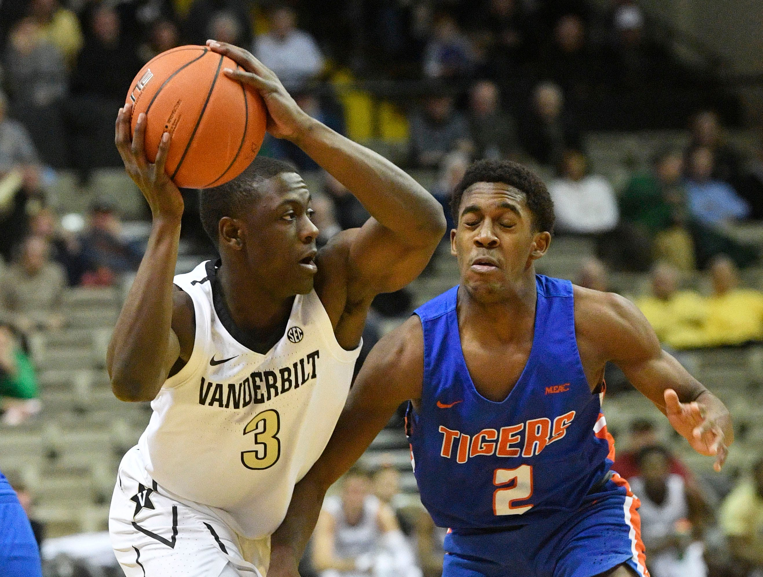 Vanderbilt Commodores guard Maxwell Evans (3) tries to pass as Vanderbilt plays Savannah State at Memorial Gym