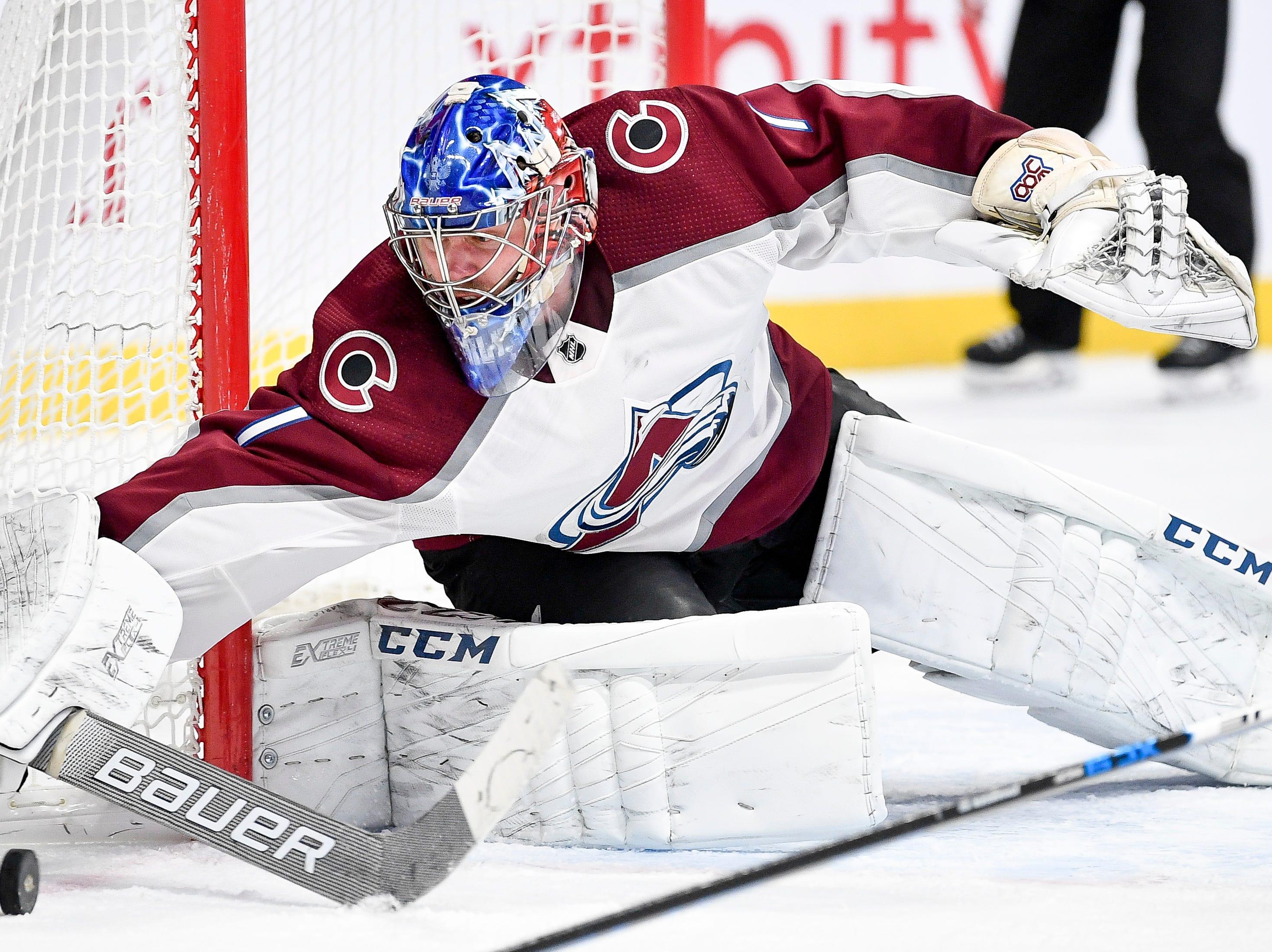 Colorado Avalanche goaltender Semyon Varlamov (1) defends against the Nashville Predators during the third period at Bridgestone Arena in Nashville, Tenn., Tuesday, Nov. 27, 2018.