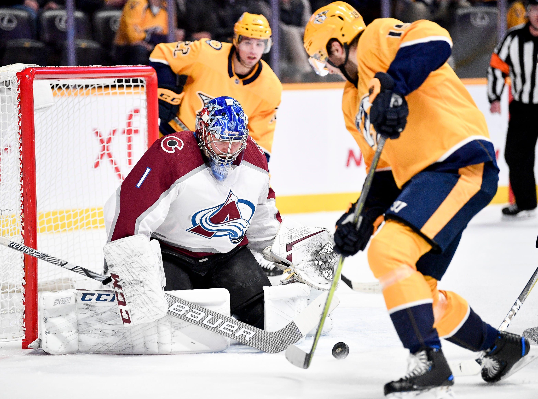 Colorado Avalanche goaltender Semyon Varlamov (1) defends against Nashville Predators center Calle Jarnkrok (19) during the first period at Bridgestone Arena in Nashville, Tenn., Tuesday, Nov. 27, 2018.
