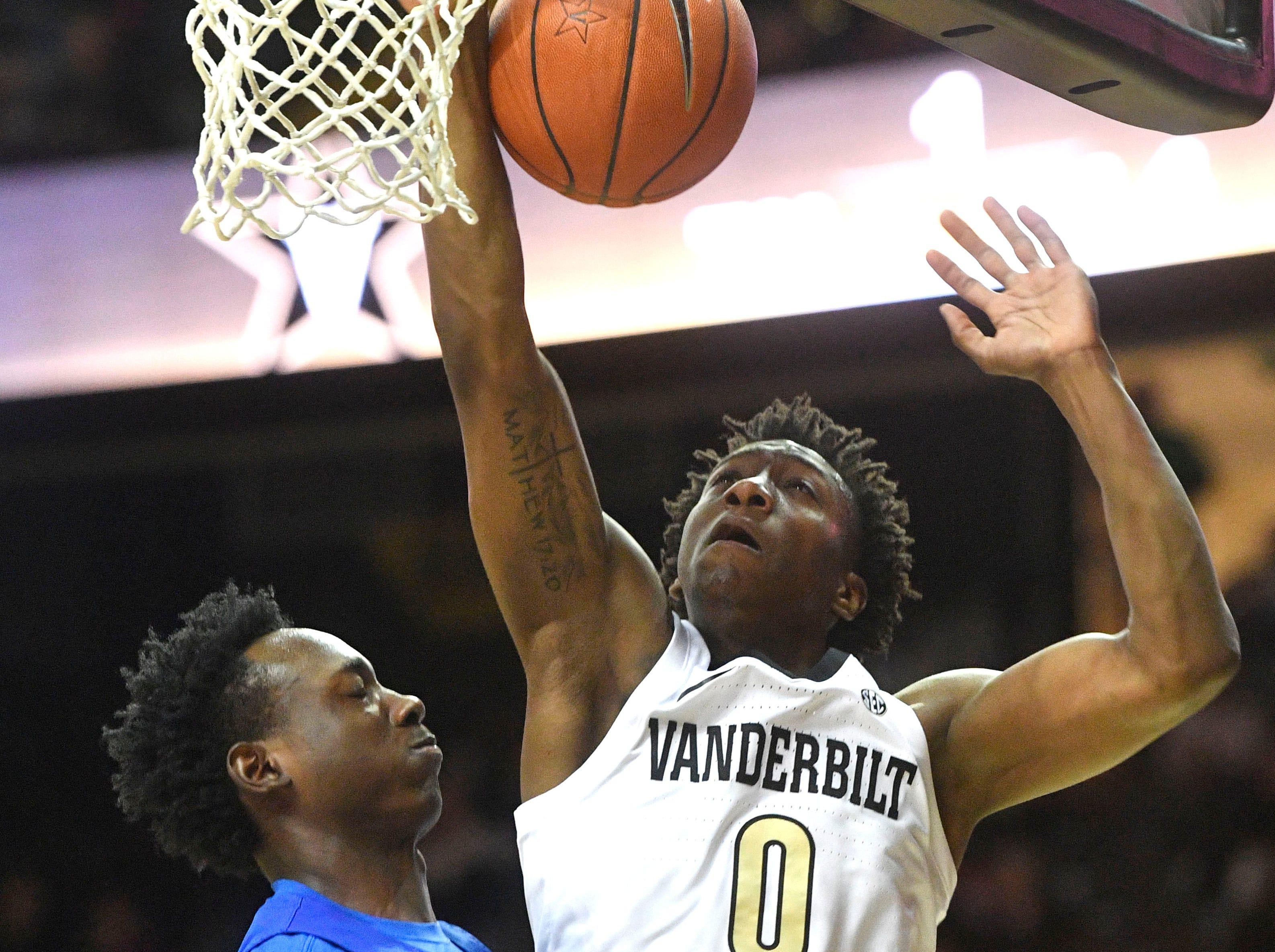 Vanderbilt Commodores guard Saben Lee (0) has the ball knocked loose as Vanderbilt plays Savannah State at Memorial Gym Tuesday Nov. 27, 2018, in Nashville, Tenn.