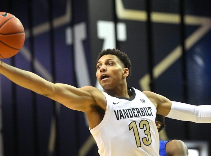 Vanderbilt Commodores forward Matthew Moyer (13) reaches for a rebound as Vanderbilt plays Savannah State at Memorial Gym Tuesday Nov. 27, 2018, in Nashville, Tenn.