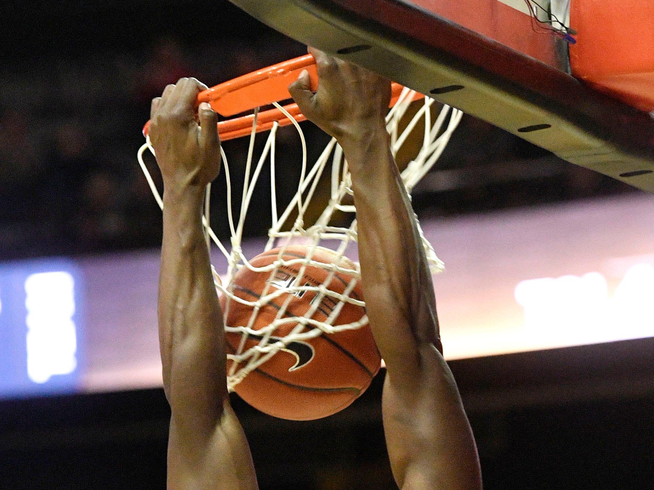 Vanderbilt Commodores guard Maxwell Evans (3) dunks as Vanderbilt plays Savannah State at Memorial Gym Tuesday Nov. 27, 2018, in Nashville, Tenn.