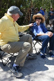 """Conservancy biologist Dave Addison, who started the Conservancy's Sea Turtle Rescue and Monitoring program 35 years ago, talks with Naples philanthropist Lavern Gaynor on April 10, 2017. The Conservancy of Southwest Florida cut the ribbon for its new """"turtle house"""" on Keewaydin Island with a mostly-paid-for facility honoring their longtime head of loggerhead sea turtle research replacing the crumbling former building."""