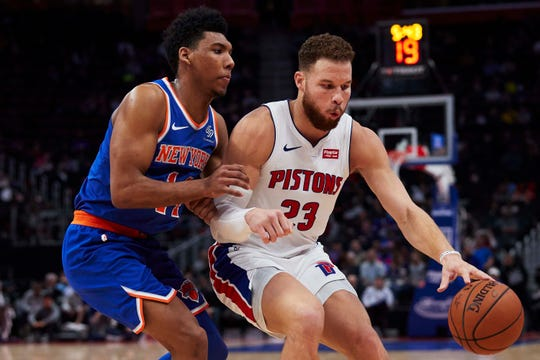 Nov 27, 2018; Detroit, MI, USA; Detroit Pistons forward Blake Griffin (23) dribbles defended by New York Knicks guard Allonzo Trier (14) in the first half at Little Caesars Arena.