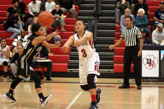 Freshman Lady 'Cat Harmanie Dominguez (3) led all scorers Tuesday night with 17 points in her first varsity game.
