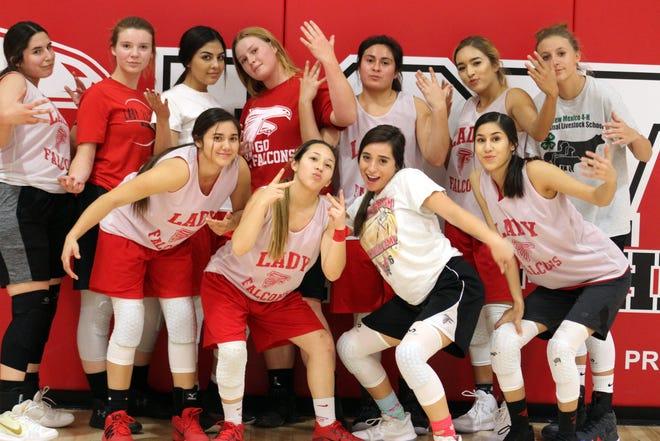 The 2018 Loving Lady Falcons varsity basketball team.