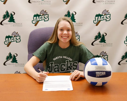 Piedra Vista's Sam Harris signed her letter of intent on Tuesday to continue her volleyball career at Dakota College at Bottineau in Bottineau, N.D.