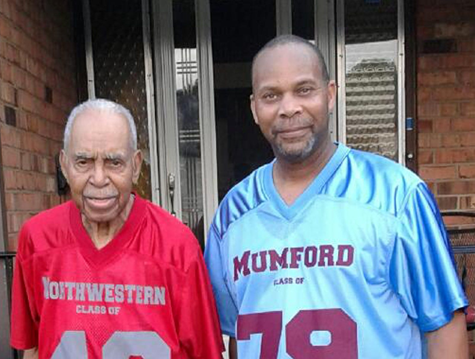 Mike Williams (right) with his uncle James Brogdon, a 1948 graduate of Detroit Northwestern High School.