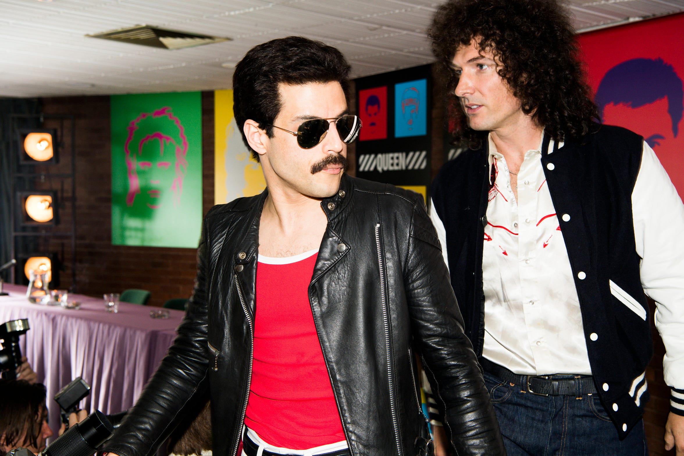 """From left to right: Rami Malek (Freddie Mercury) and Gwilym Lee (Brian May) star in Twentieth Century Fox's """"Bohemian Rhapsody."""""""
