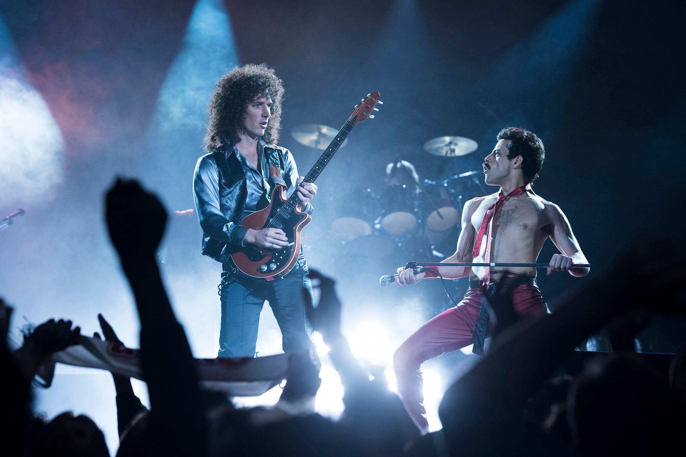 """From left to right: Gwilym Lee (Brian May) and Rami Malek (Freddie Mercury) star in Twentieth Century Fox's """"Bohemian Rhapsody."""""""