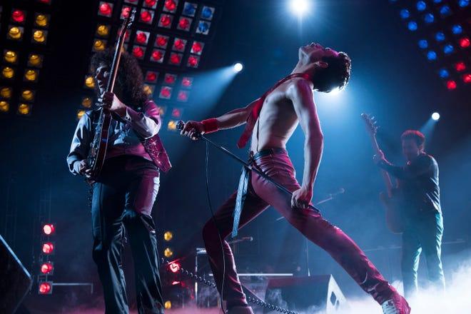 "From left to right: Gwilym Lee (Brian May), Rami Malek (Freddie Mercury), and Joe Mazzello (John Deacon) star in Twentieth Century Fox's ""Bohemian Rhapsody."""