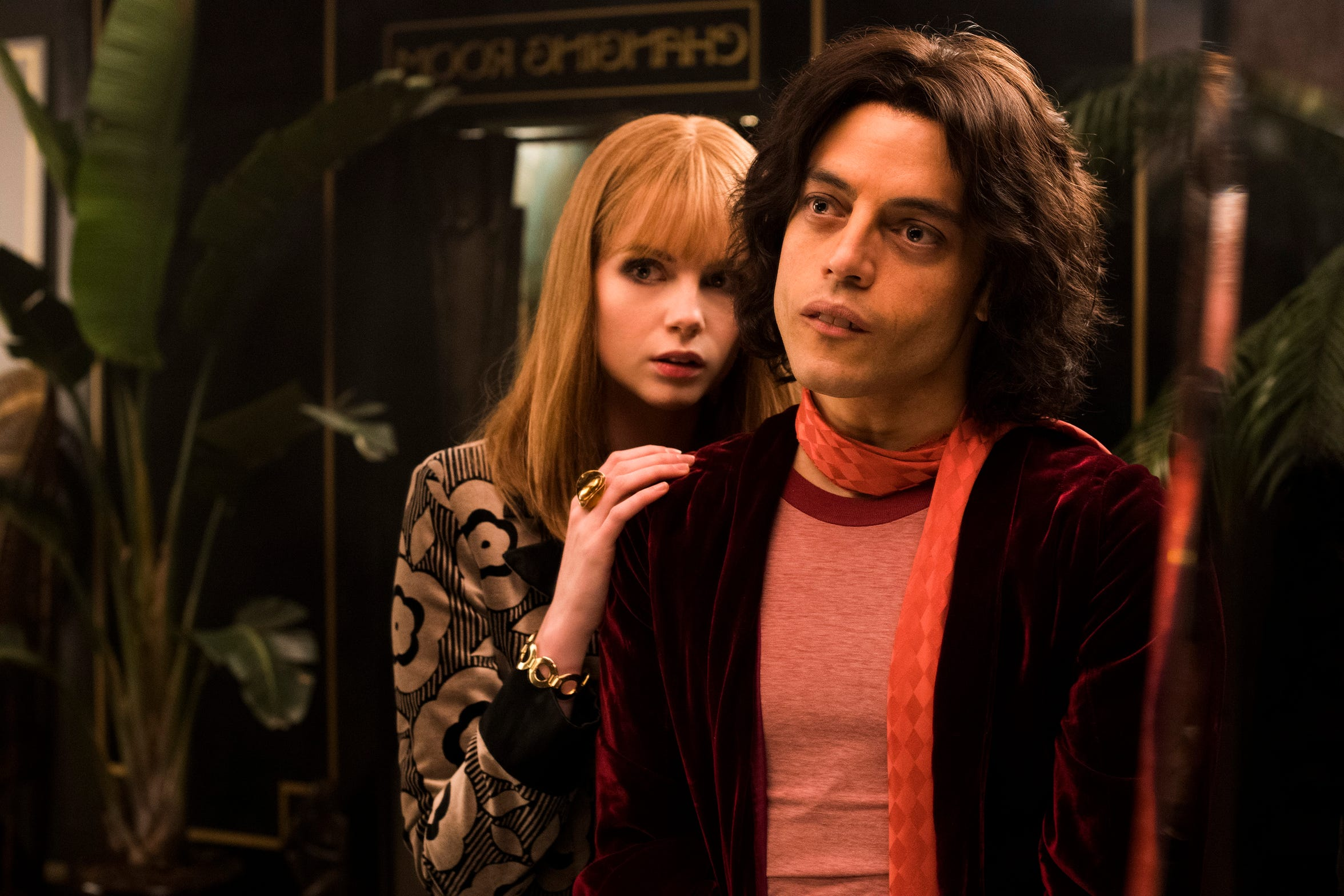 "From left to right: Lucy Boynton (Mary Austin) and Rami Malek (Freddie Mercury) star in Twentieth Century Fox's ""Bohemian Rhapsody."""