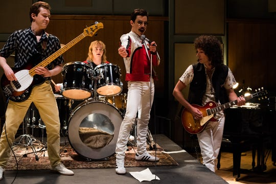 "From left to right: Joe Mazzello (John Deacon), Ben Hardy (Roger Taylor), Rami Malek (Freddie Mercury), and Gwilym Lee (Brian May) star in Twentieth Century Fox's ""Bohemian Rhapsody."""