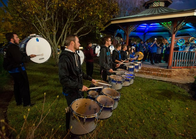 The UWF Argo Athletic Band played as guests arrived to the home of Valerie and Ray Russenberger during a donor event at their home on Monday, Nov. 26, 2018.