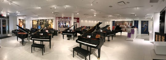 The piano showroom at Blues Angel Music Eastern Shore.