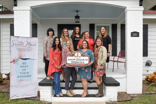 Present during a Nov. 8 donation of more than $10,000 to The Secret Place by the Junior League of Pensacola were, back row, from left: Lexie Thorsen, Jamie Mears, Ashleigh Waters, Contessia Gibson and Brooke Policicchio; front row, from left: Kristin Lipscomb, The Secret Place founder and president; Alyssa Tucker, 2018-19 JULEP president; Alicia Tappan, The Secret Place program director; and Dannon Hooks, 2017-18 JULEP president.