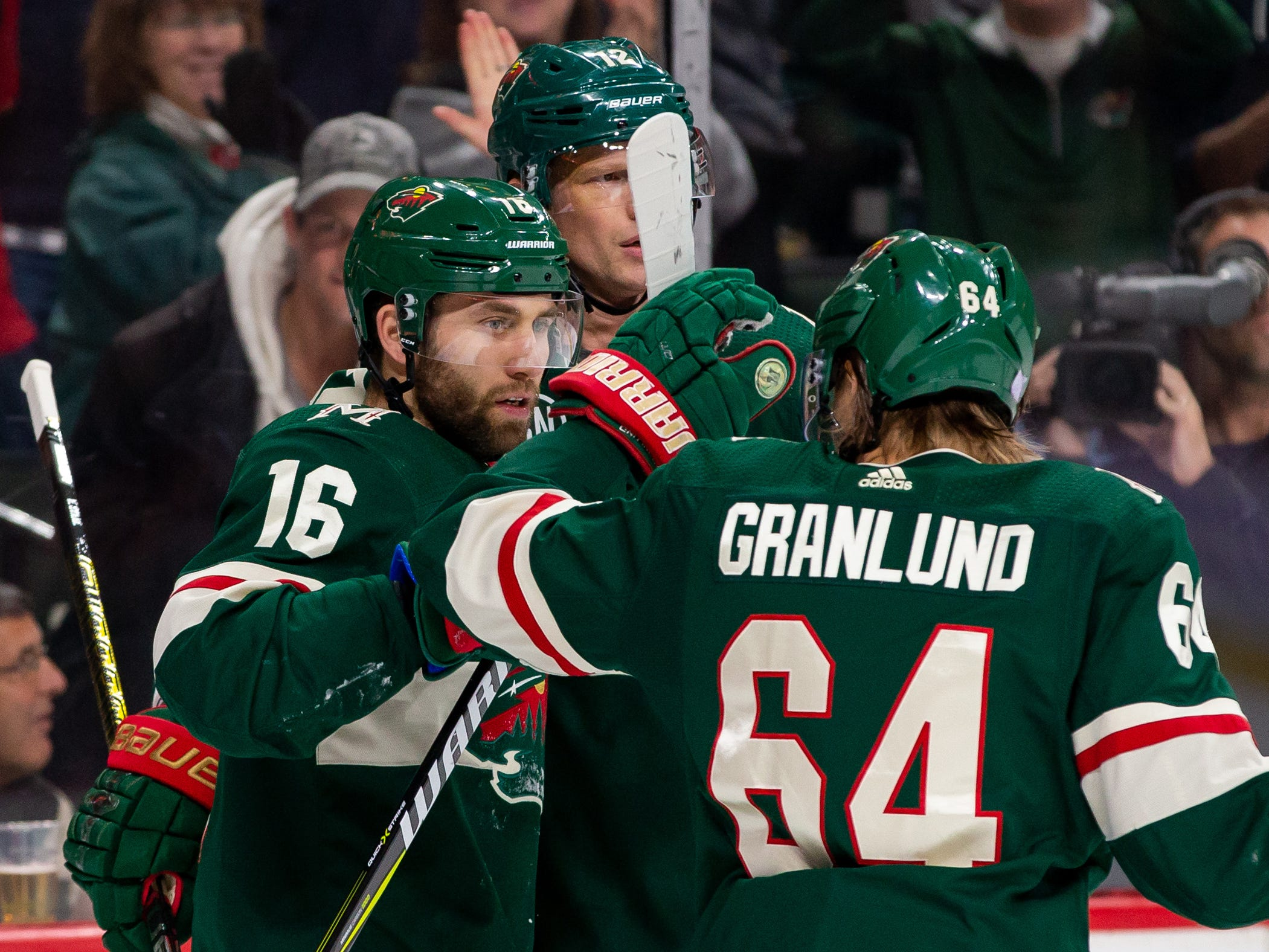 Nov 27, 2018; Saint Paul, MN, USA; Minnesota Wild forward Jason Zucker (16) celebrates his goal in the second period against Phoenix Coyotes  at Xcel Energy Center. Mandatory Credit: Brad Rempel-USA TODAY Sports