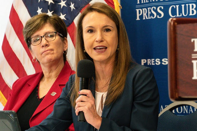 Jennifer Wethe of the Mayo Clinic Arizona Sports Neurology and Concussion Program, with U.S. Center for SafeSport CEO Shellie Pfohl, left, says prompt detection of concussions is critical in youth sports.