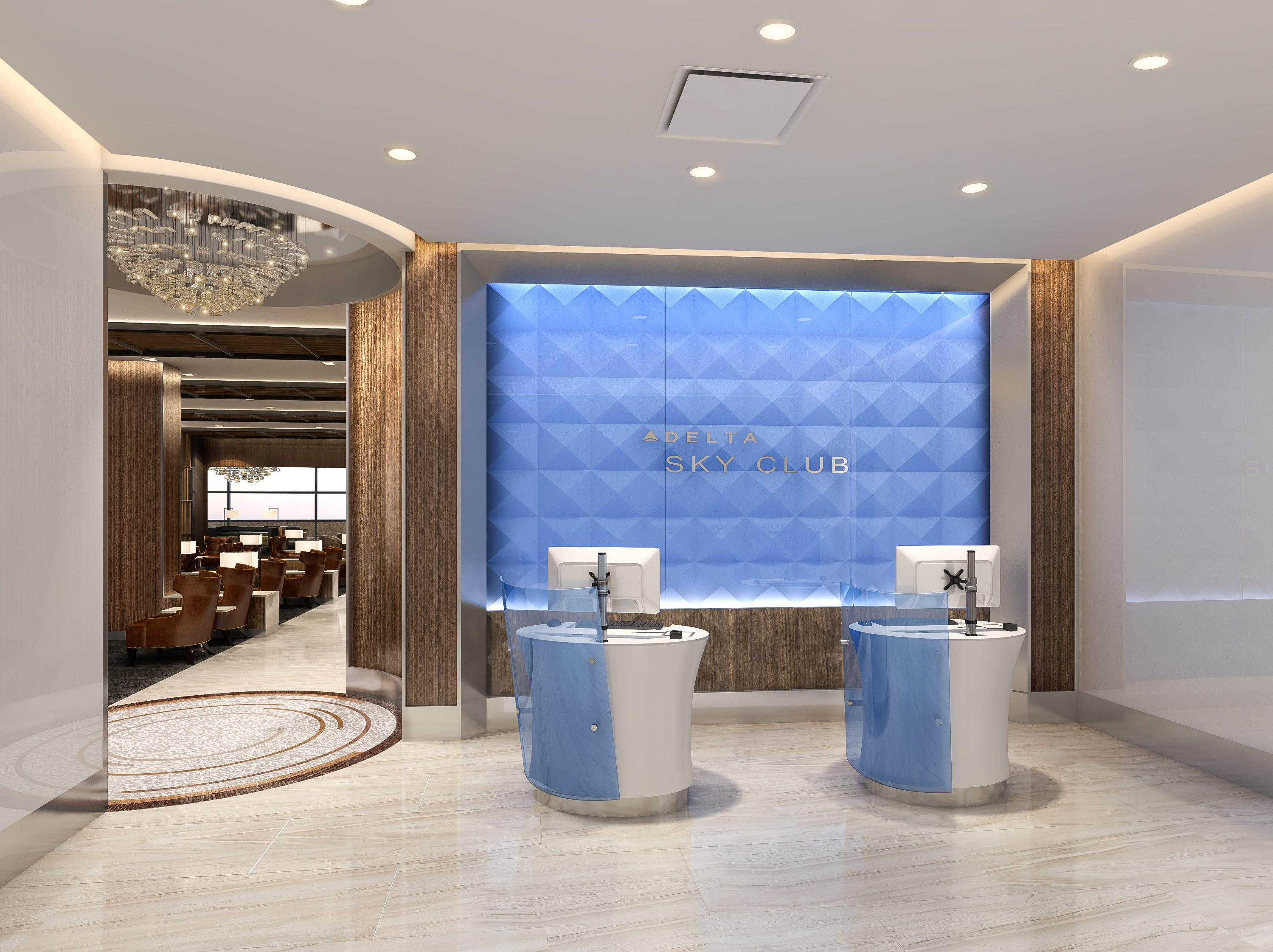 Rendering of the new Delta Sky Club Lounge at Sky Harbor