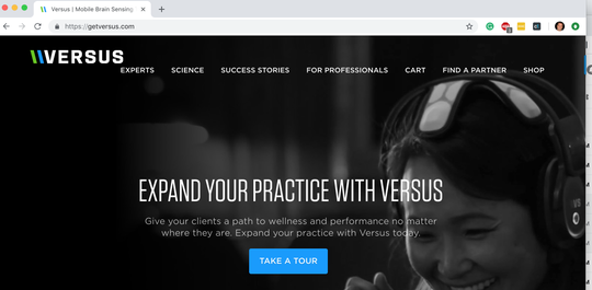 A screenshot of the website for Versus, a seller of brain-wave-recording headsets.