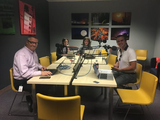 "Garrett Archer (right) sits down with ""The Gaggle"" podcast hosts Ronald J. Hansen (left) and Yvonne Wingett Sanchez (not pictured) and producers Taylor Seely and Téa Francesca Price."