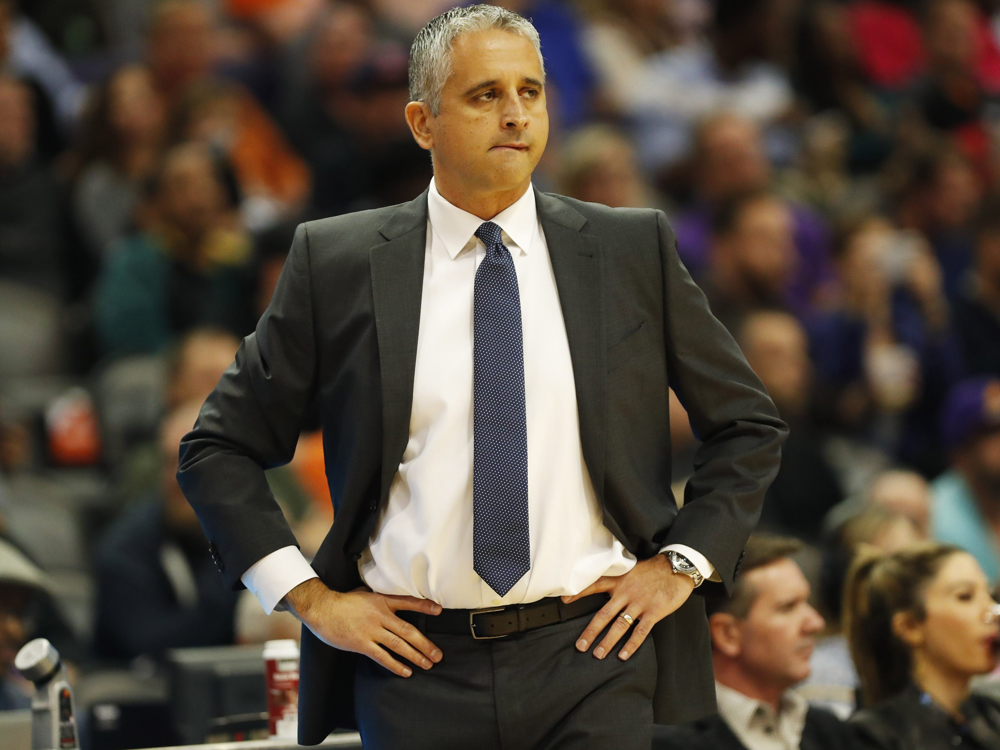 Phoenix Suns head coach Igor Kokoskov watches his team play against the Indiana Pacers during the second quarter November 27.