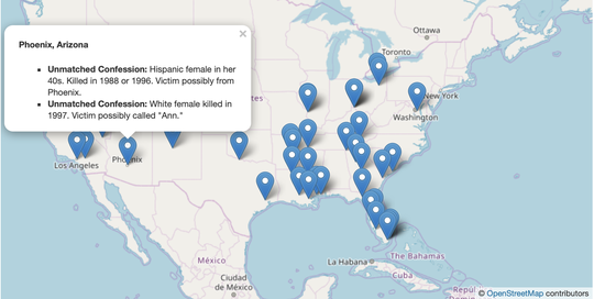 FBI map of Samuel Little's confessed murders, which included three unverified cases in Phoenix.