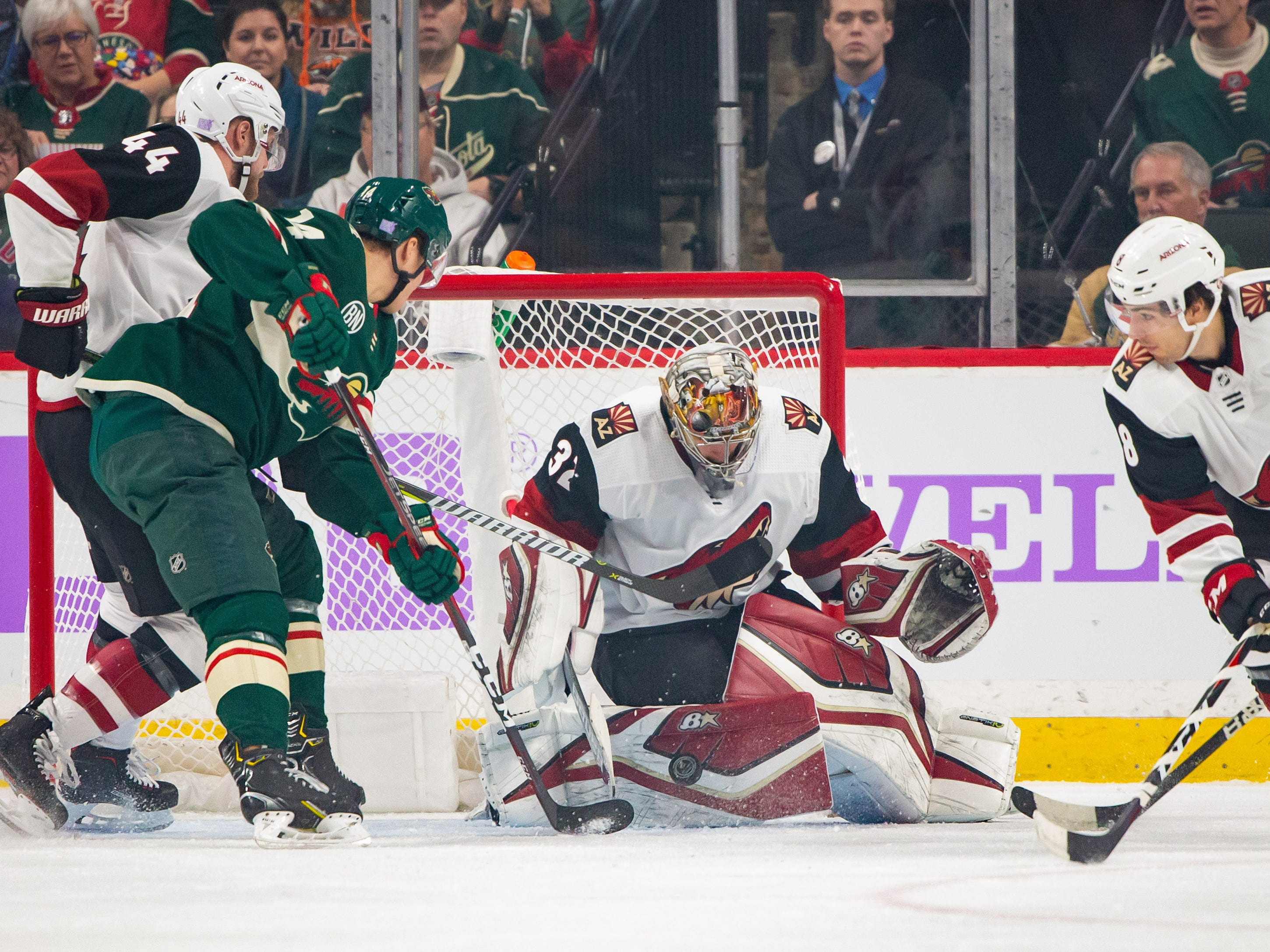 Nov 27, 2018; Saint Paul, MN, USA; Phoenix Coyotes goalie Antti Raanta (32) makes a save in the first period against Minnesota Wild at Xcel Energy Center. Mandatory Credit: Brad Rempel-USA TODAY Sports