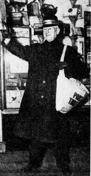 Frank R. Mallon, a Port Huron businessman, hawks special editions of the Times Herald in December 1940 for the Old Newsboys.