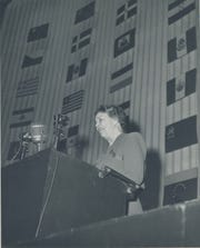 Mrs. Franklin D. Roosevelt of the United States, addresses the United Nations General Assembly prior to the adoption of the Declaration of Human Rights in Palais de Chaillot, Paris, December 9, 1948.