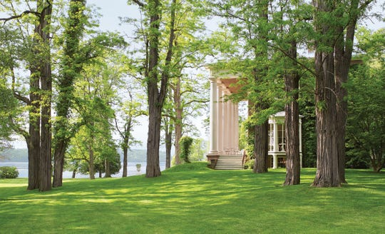 """EDGEWATER: The monumental 1820 Tuscan-style columns were painted to resemble marble. It is one of the Hudson Valley estates featured in  """"Life Along The Hudson: The Historic Country Estates of the Livingston Family,"""" (Rizzoli) by Pieter Estersohn"""
