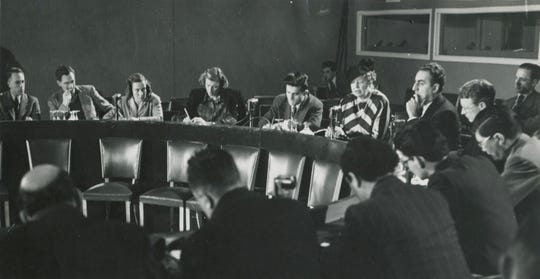 Eleanor Roosevelt, chair of the United Nations Human Rights Commission, during a December 1948 press conference in Paris, France, on the Universal Declaration of Human Rights.